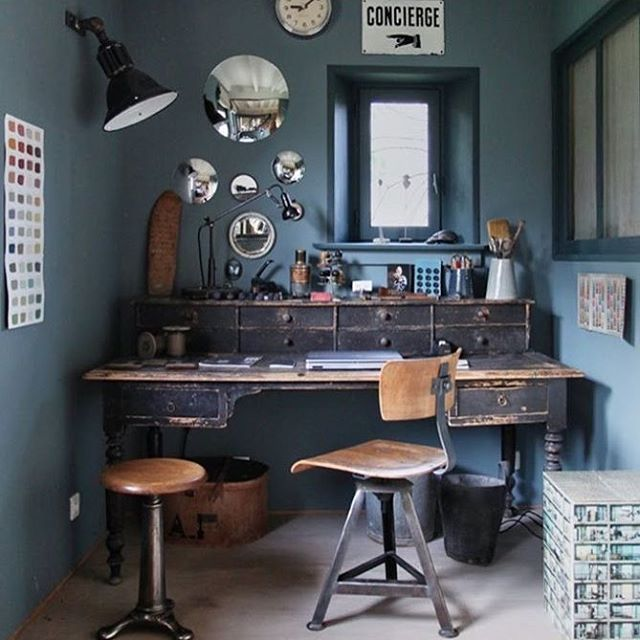 #industrial #interordesign #lamps #chair #desk #work #blue #walls #mirrorpic  #frames #shabby #office #love #need #stool #chic #reloved