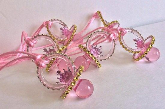 "Princess themed baby shower pacifier necklace by Maria's Craft -  Don't Say ""WORD"" Baby Shower Game"