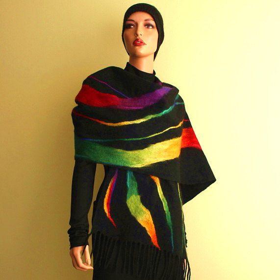 Felted rainbow scarf, felt shawl, multicolor, nunofelt, wool merino, silk chiffon,nuno, felt scarf. $129.00, via Etsy.
