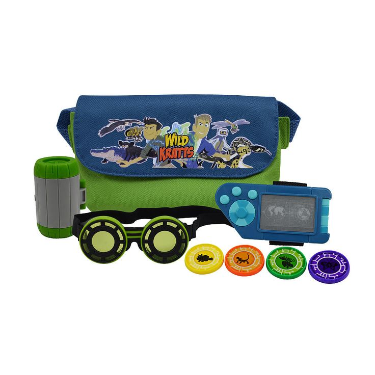 With the Wild Kratts Adventure Set you can be just like the Kratt Brothers! Now you can create your own creature adventures with all of the same tools right from the beloved PBS Kids show Wild Kratts! Use the trusty night vision goggles to explore those nocturnal creatures! With bonus power discs and a nifty power disc holder you will have the perfect spot to store of your power discs. Also included is a creaturepod and adventure bag so you can take all of your tools wherever you go…