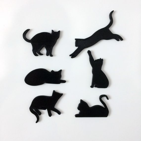 Magnetic Cats 3 Cool, 3D printed original set of cat magnets. The set contains 6 cute cats.  The magnet itself is embedded into the plastic, so it would not scratch or damage your photos or fridge!