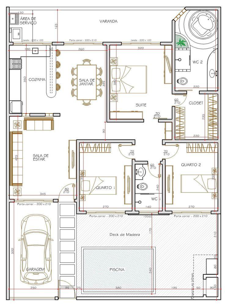 25 melhores ideias de projetos de casas terreas no for Medidas piscina casa