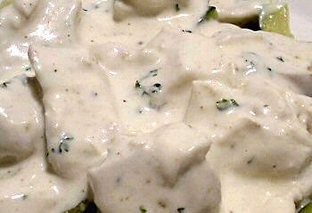 CREAMY ALFREDO SAUCE - Linda's Low Carb Menus & Recipes  CREAMY ALFREDO SAUCE  8 ounces cream cheese, softened  3/4 cup heavy cream  2 ounces freshly grated parmesan cheese, 1/2 cup  1/4 teaspoon pepper  Pinch nutmeg  1/2 teaspoon garlic powder  Salt, to taste  Pinch fresh parsley, minced, optional