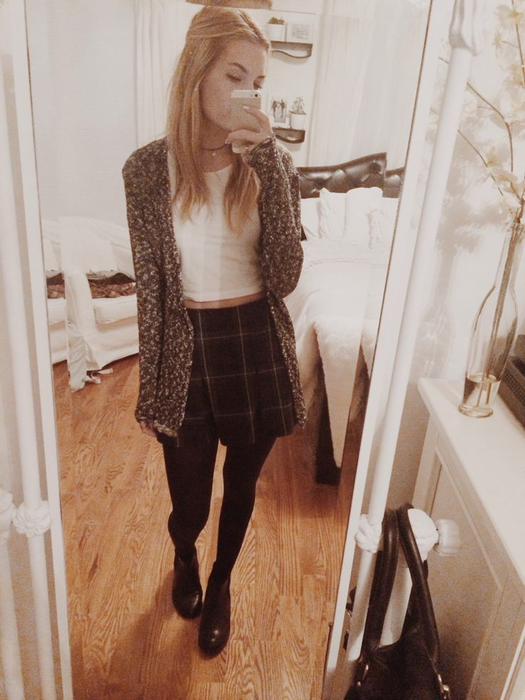 Brandy Melville skirt, American Apparel crop top, Brandy cardigan, tights, Topshop chelsea's, Nomadic