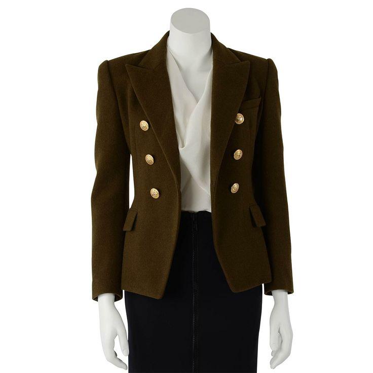Balmain Dark Olive Green Double Breasted Wool Jacket