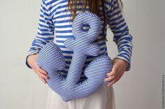 Купить Декоративная подушка-якорь - буква, буква подушка, якорь, морской стиль, полоски