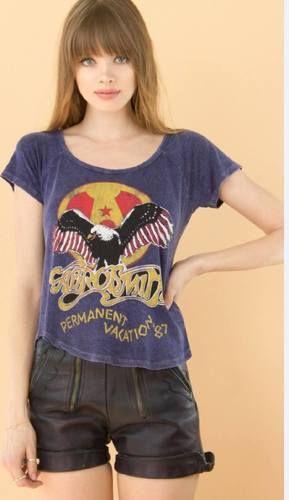 Aerosmith Women's Vintage Concert T-shirt - Aerosmith Permanent Vacation '87 | Blue Shirt by Recycled Karma