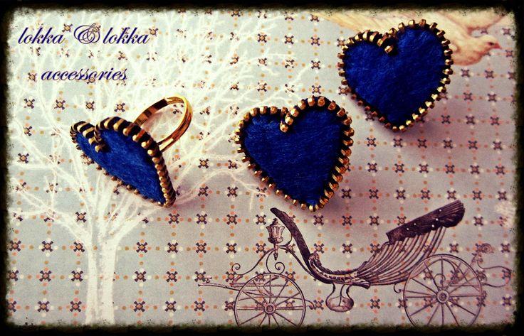 zipper and felt ring/Heart Shaped