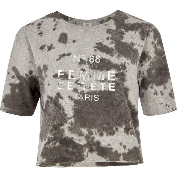 River Island Grey tie dye 'femme' cropped T-shirt ($36) ❤ liked on Polyvore featuring tops, t-shirts, grey, print t-shirts / vests, women, grey crop top, gray t shirt, short sleeve t shirt, tie dyed t shirts and grey vest
