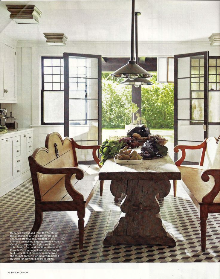 Cement Tiles In Cube Pattern; French Trestle Table; Steven Gambrel