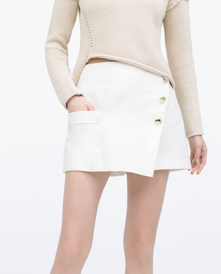 Image 1 of GOLD BUTTON WRAP SKIRT from Zara