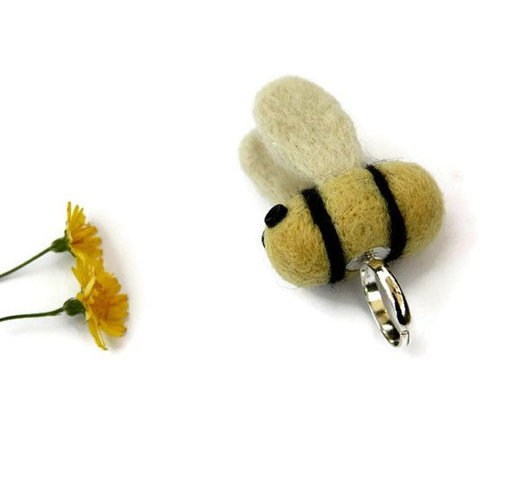 Needle Felted Bumble Bee Ring Silver Plated by Middlemistmakes1