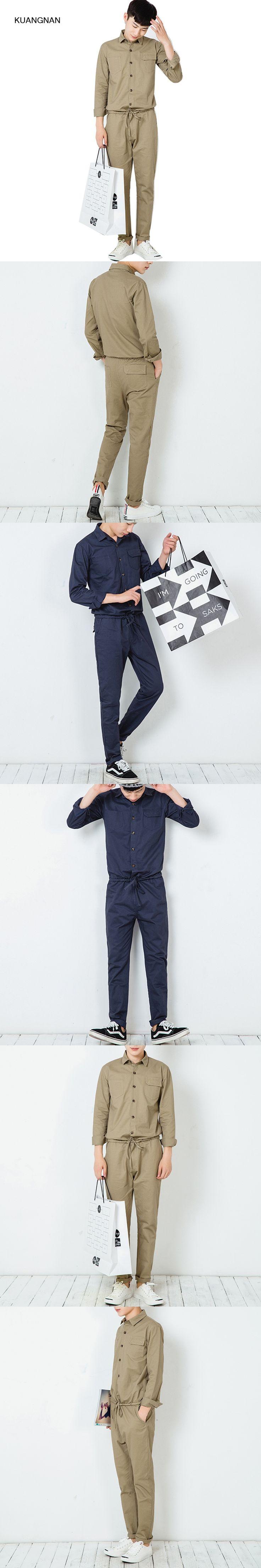 Fashion Casual Men Jumpsuits Street Hip-hop Overalls Trousers Men Long Sleeve Shirt Tooling Harem Pant Jumpsuits