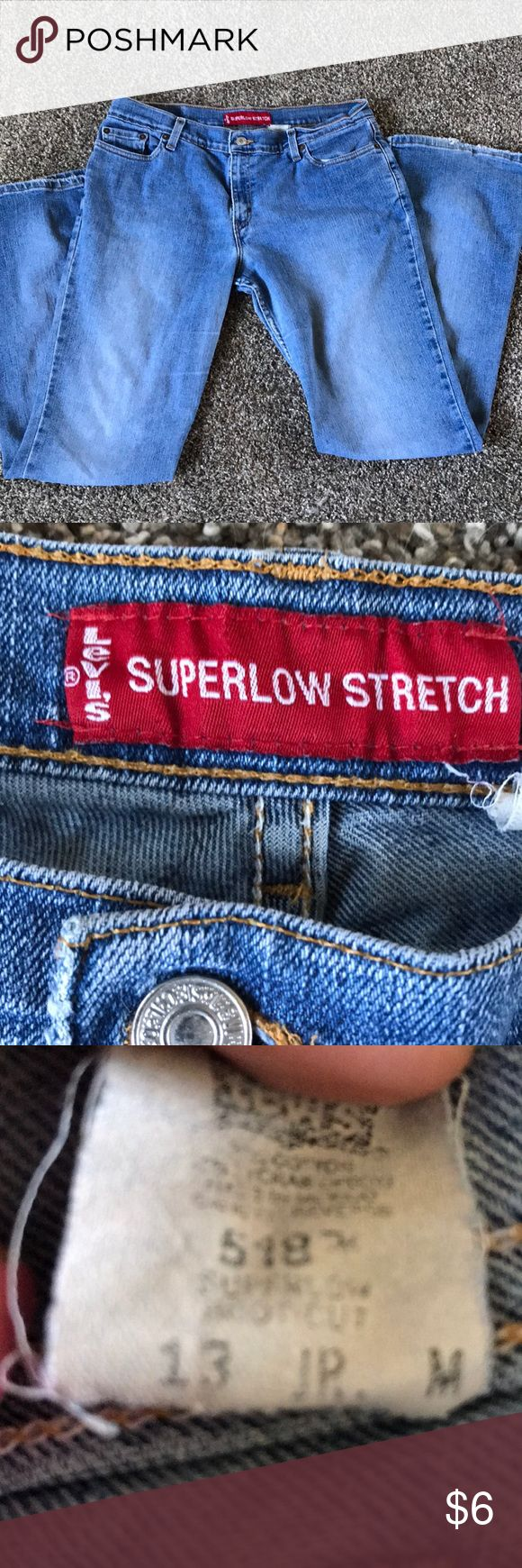 Vintage Levi's jeans Well worn but so comfy Levi super low stretch jeans does have a hole below the butt in the right side side and has some ware between the legs but still really great jeans ..price reflex the condition Levi's Jeans Boot Cut