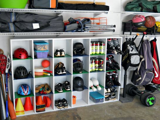 IHeart Organizing: Reader Space: Trash to Treasure Garage Cubbies. Step by step instruction on how to make this DIY project instead of purchasing new. Great for sports equipment, gardening or anything else that needs organized spaces.