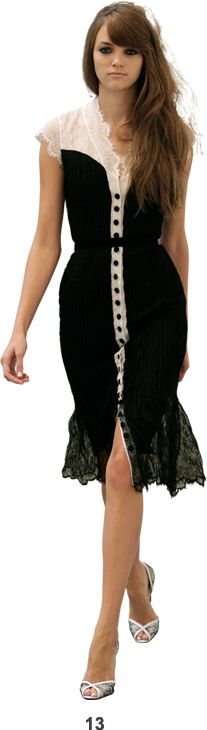 Black/cream tuxedo dress with lace insets at shoulders, placket, and tail--L'Wren Scott