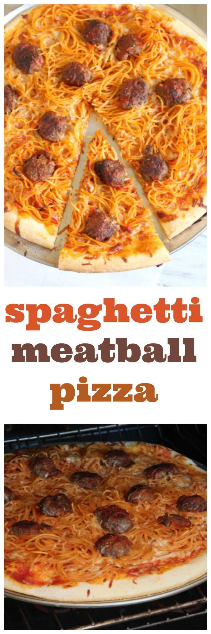 spaghetti and meatball pizza @createdbydiane