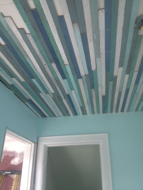 Make And Take Room In A Box Elizabeth Farm: Repurposed Ceiling, Furring Strips, Striped Ceiling