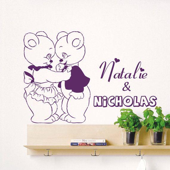 Decalcomanie da muro personalizzati camera bambino camera da letto Home Decor nome ragazza ragazzo orsi amore Design vinile Decals sala giochi scuola materna bambini 3747