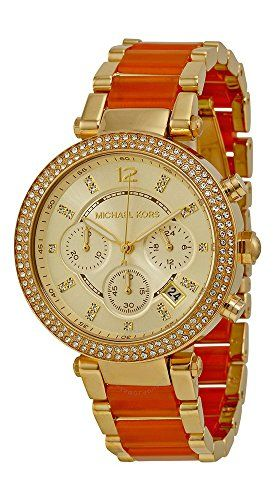 Michael Kors MK6139 Womens Golden Peach Stainless Steel Crystal Accented Chronog...