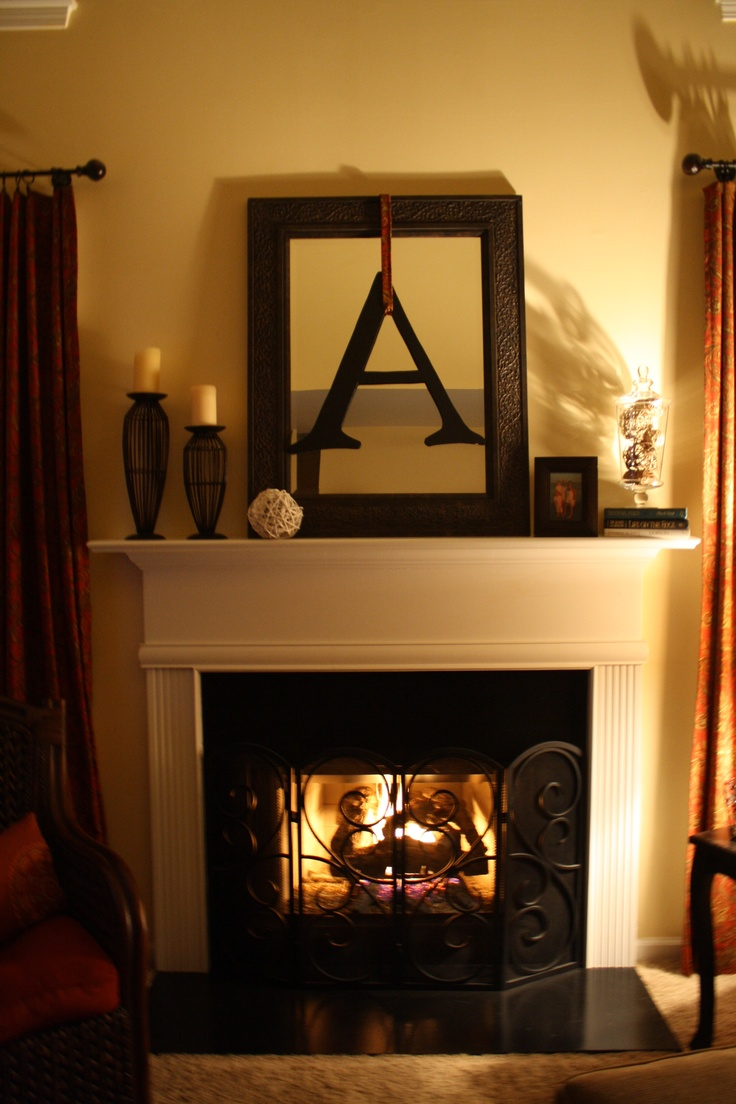 Mantle decor mirror with initials i love this but for Mirror for above fireplace mantel