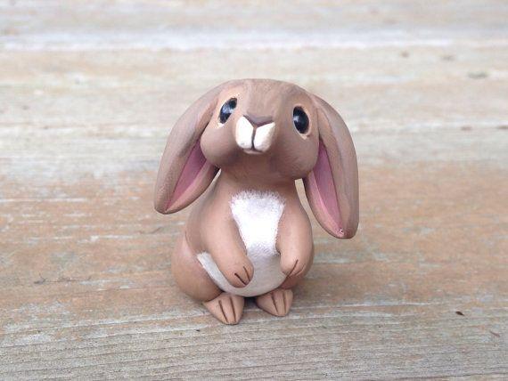 Rabbit Handmade miniature polymer clay animal by AnimalitoClay