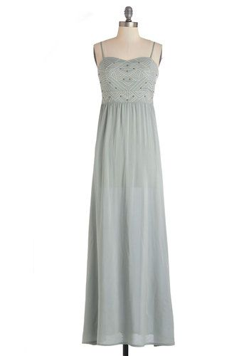 Outline and Dine Dress - Woven, Long, Grey, Embroidery, Studs, Casual, Maxi, Spaghetti Straps, Sweetheart, Summer