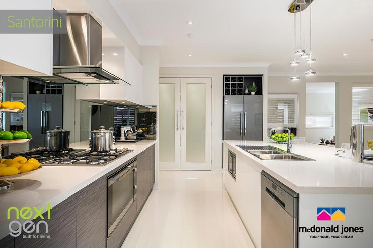 Love the mirrored splash-back in this new Santorini display home. See it for your self in McDonald Jones Display Centre at Shell Cove #mcdonaldjones #displayhome #kitchen #gourmetkitchen # newhome #southcoast #shellcove