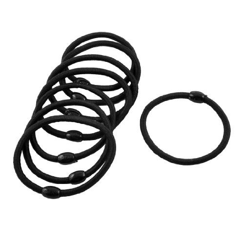 uxcell Lady Girl Oval Bead Accent Black Nylon Wrapped Stretch Rubber Hair Bands 8 Pcs >>> Check out this great product.(This is an Amazon affiliate link and I receive a commission for the sales)
