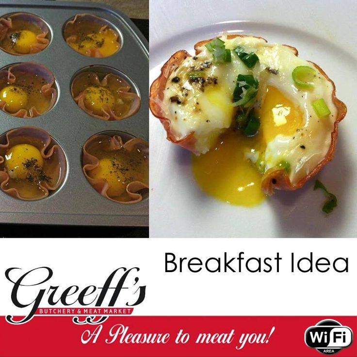 Delicious, quick and easy breakfast idea! Low Carb Baked Eggs in Ham: Preheat the oven to 400. Spray a muffin tin with cooking spray. Lay a piece of ham in each hole creating a little ham cup. Crack one egg into each hole and sprinkle with salt and pepper. Then bake in the oven til your desired consistency - these are about 12 minutes. #recipe #breakfast #paleo #lowcarb