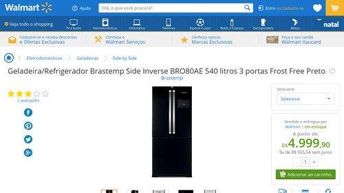 [Wal-Mart] Geladeira / Refrigerador Brastemp Side Inverse BRO80AE 540 litros 3 portas Frost Free Preto 268514 por R$ 4.999,86
