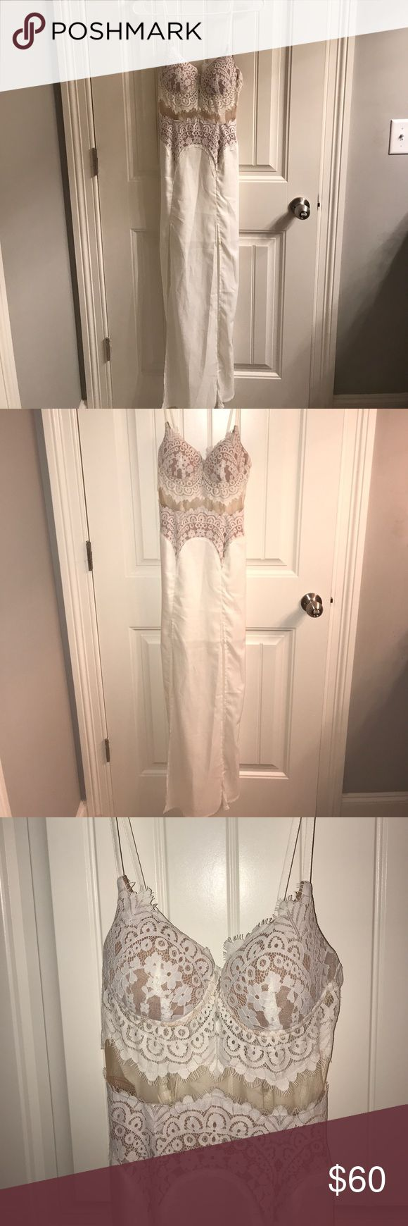 Hello Molly maxi dress Super cute and fun maxi dress with two slits and a pretty lace work and mesh bodice! New with tags. hello Molly Dresses Maxi