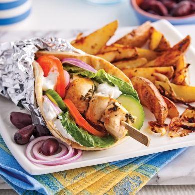 Pitas souvlaki au poulet - Recettes - Cuisine et nutrition - Pratico Pratiques