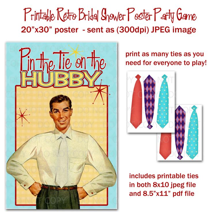 "Printable DIY Pin the Tie on Hubby - Retro Housewife Bridal Shower Party Game Poster 20"" x 30"". $12.50, via Etsy."