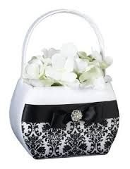 Lillian Rose Black Damask Collection flower girl basket. Sold at Second I Do's