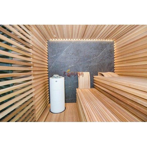 Red Cedar, Sauna oven - Tulikivi Kuura White, Italian marble. https://www.esaunashop.com/?route=gallery%2Falbum&album_id=17&lang=lt Pirties sienos ir gultai iš aukščiausios rūšies kedro medienos, gamintos pagal individualų profilį. Galinė pirties sienos apdaila - itališkas marmuras. Krosnelė Tulikivi Kuura White, užpildyta žadeito akmenimis. Visų tipų pirčių įrengimas ! Visoje Lietuvoje ir Europoje!