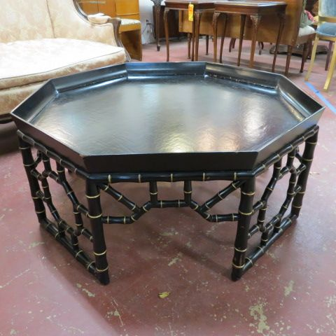 Vintage Antique Octagonal Painted Faux Bamboo Coffee Table 250