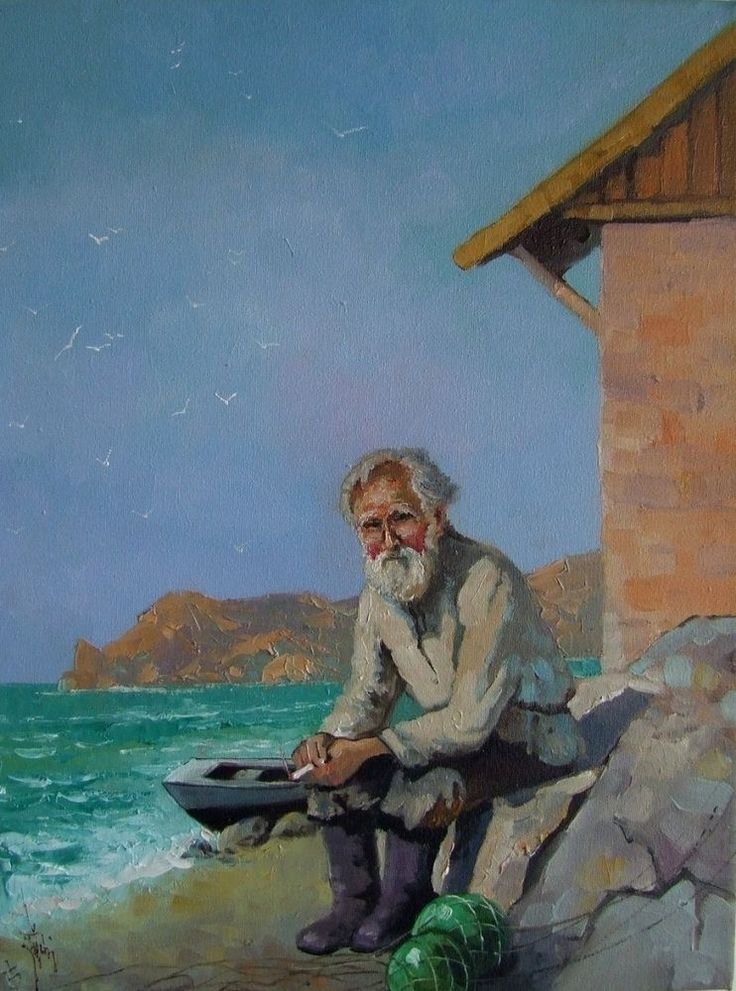 Old Fisherman Seascape Boat Original Oil Painting Beach ...