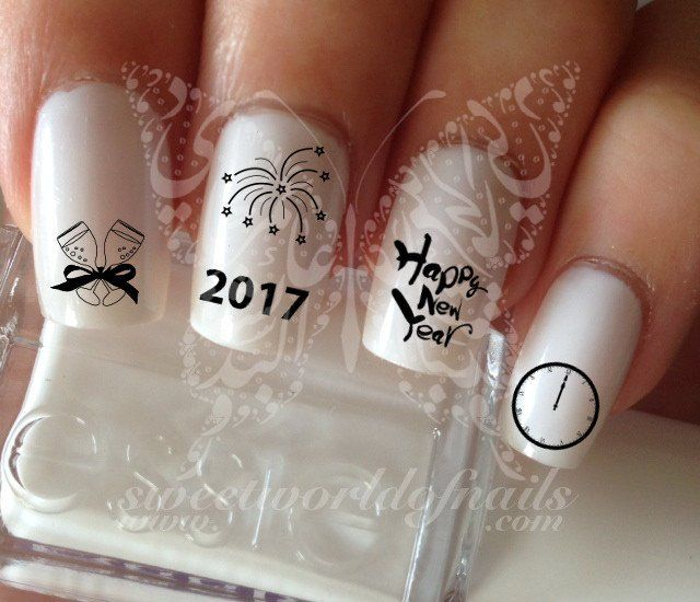 Happy New Year Nail Art Water Decals Transfer New Year's Eve Nails
