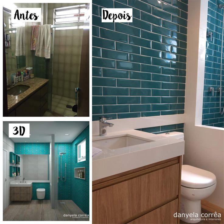 Navegue por fotos de Banheiros modernos: Antes e Depois – Com Revestimentos Azuis. Veja fotos com as melhores ideias e inspirações para criar uma casa perfeita.