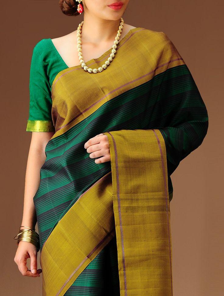 Green-Ochre Kanchipuram Silk Saree #available on jaypore.com