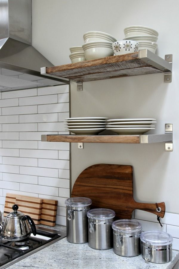 Reclaimed Wood Fitted In Ikea Brackets Kitchen Pinterest Open Kitchen Shelving Open