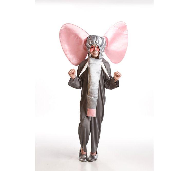 Disfraz para niños de 3 a 5 años de Elefante Gris. Incluye mono, cabeza y trompa. Con este disfraz podrás imitar a Dumbo.
