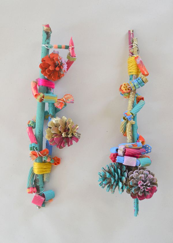 art assemblage with kids pinecones pasta the craft house