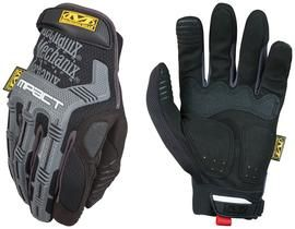 Mechanix Wear® Large Black And Gray M-Pact® Full Finger Synthetic Leather Anti-Vibration Gloves With Hook And Loop Cuff, PORON® XRD® Palm Padded And Rubberized Grip On Thumb, Index Finger And Palm