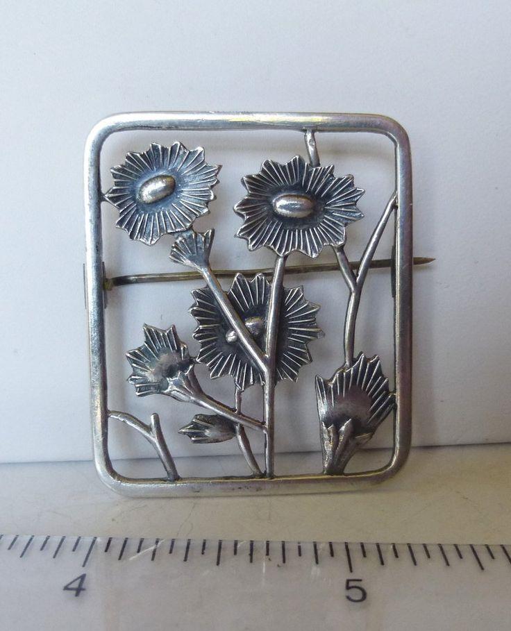 Chr.Veilskov silver Deco floral brooch