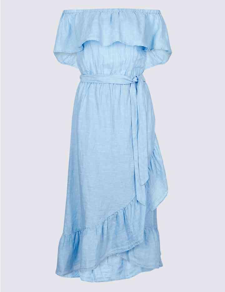 376896737b3d26 Pure Linen Half Sleeve Bardot Midi Dress   Spring/Summer Style ...