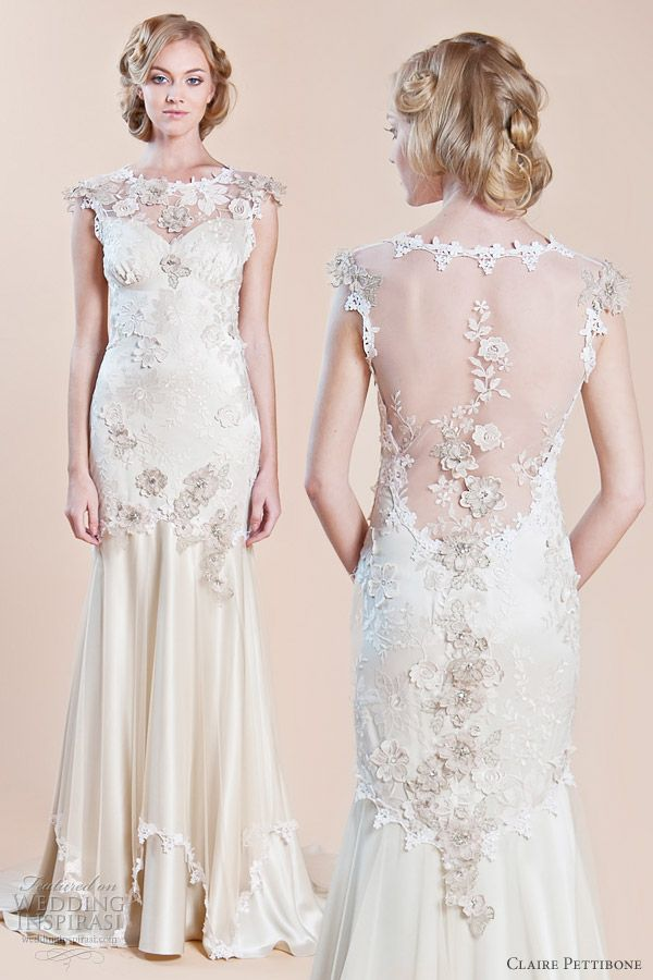 Viola embroidered tulle and platinum silk mermaid gown with Guipure lace trims and sheer back by Claire Pettibone, Fall 2012 for Wedding Inspirasi.