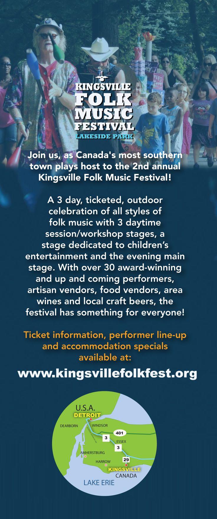 Kingsville Folk Music Festival ~ a project of the Sun Parlour Folk Music Society