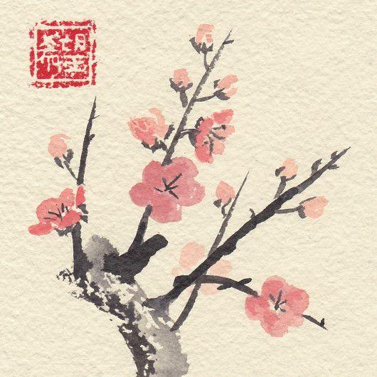 Artistic handmade card from Daniela Renčová: Sakura Blossom. Ink wash painting.